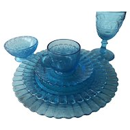 6 pc Turquoise Blue Lace and Dewdrop Kemple Wheaton Place Setting