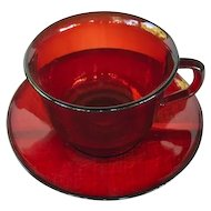 Ruby Red Arcoroc France cups and saucers