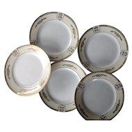 5 Depression era Noritake gold embossed china plates