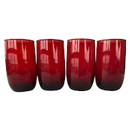 4 Royal Ruby red glass 9 ounce tumblers
