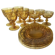 12 piece Fenton Plymouth Amber dinnerware set ~ 1930's amber glass plates and goblets