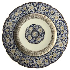 1930s Schumann Bavaria blue and gold encrusted floral pattern dinner plates - 1930s china