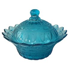 Turquoise Blue Lace and Dewdrop Kemple wheaton vegetable bowl with lid