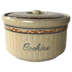 1920s Red Wing Spongeware Cookie Jar - Gray Line Sponge Band cookie jar