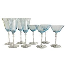 8 piece 1920s  Fostoria Azure Blue Crystal Stemware