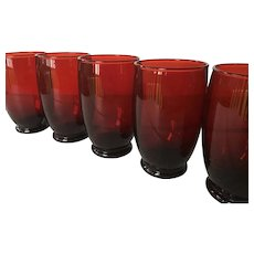Set of 7 Vintage Baltic Royal Ruby Water Glasses by Anchor Hocking - 1930s 1940s