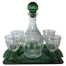 Vintage 1980's Avon Emerald Accent line 6 pc Decanter set
