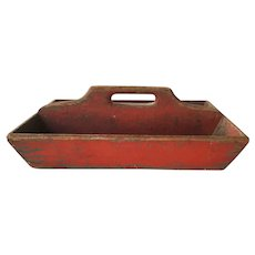 Antique primitive wood tote red painted tool caddy tool box carrier