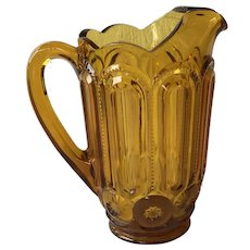 Vintage Moon and Stars amber 40 oz pitcher LE Smith Glass
