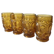 4 Vintage Moon and Stars amber 10 ounce flat tumblers LE Smith Glass