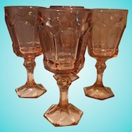 Fostoria Virginia Water Goblet, Peach, set of 4