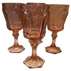 Fostoria Virginia Water Goblet, Peach, set of 4