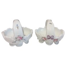 Westmoreland Roses and Bows Milk Glass Baskets