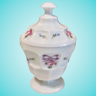 Westmoreland Milk Glass Tall Round Covered Dish, Bows and Roses