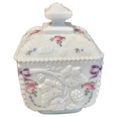 Westmoreland Beaded Milk Glass Paneled Grape Dish w/lid