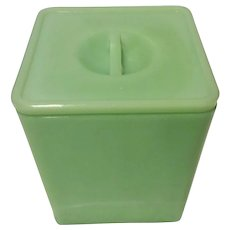 Jeannette Jadite Square Canister with Floral lid