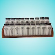 Vintage Griffith 18-Piece Milk Glass Spice Jar Set with rack, Tipp City
