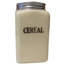 McKee Custard Glass Cereal Canister, hard to find