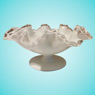 Fenton Silver Crest Footed Ruffled Milk Glass Candy Dish