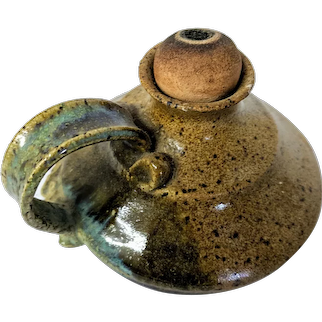 Handcrafted Clay Pottery Oil Lamp, Primitive/Native American Style