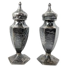Vintage 1930s Hammered Metal Salt and Pepper Shakers