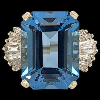 14K Yellow Gold London Blue Topaz and Diamond Ring