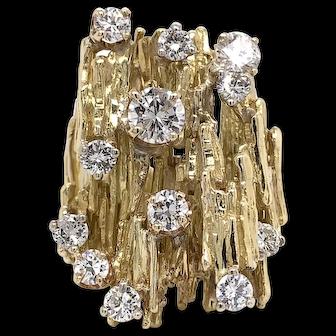 Vintage 1970's 18K YG Tree Bark Diamond Ring