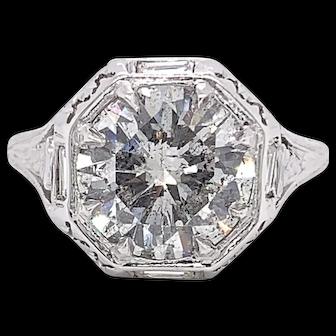 2.50+ Round Diamond (H-I I1)Set in Antique Platinum Setting