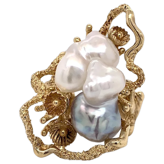 Mid Century Cultured Baroque  Pearl Ring