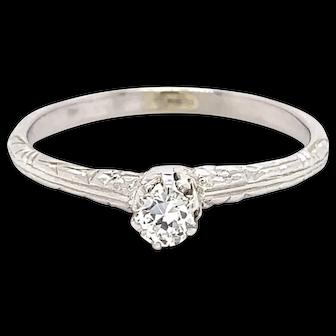 Darling Vintage 18K WG Hand Engraved Solitaire Ring
