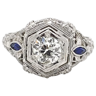 Vintage 18K White Gold Diamond and Blue Sapphire Ring