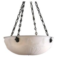 English White Glass Bowl Chandelier