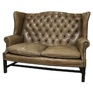 English Tufted Leather Sofa
