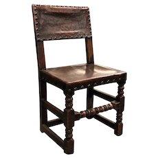 English Oak & Leather Chair
