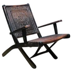 Leather and Wood Hand Tooled Armchair
