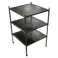 English Leather and Brass Three Tiered Table