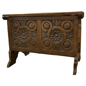 English Carved Oak Coffer with Lid