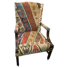English Gainsborough Armchair in Rustic Vibrant Fabric
