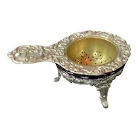 German Tea Strainer with Glass Cobalt Holder and Plated footed holder