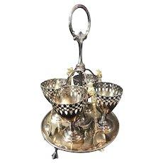 Egg Coddler plate set  Cups Spoons Holder