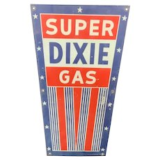 Dixie Gas Pump Plate Sign Virginia Porcelain Gasoline