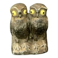 Victorian Cast Iron Pair of Owls Table Match Striker Glass Eyes