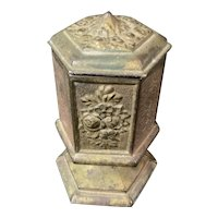 """Cast Iron Hexagon Table Match Striker Original Paint 5"""" with Hinged Lid"""