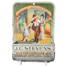 "Early Advertising Tin Litho Wall Match Striker ""Old Judson"" J.C. Stevens"