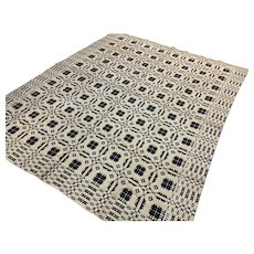Antique 1800's Wool Coverlet in Navy Blue & Cream 2 sided hand woven