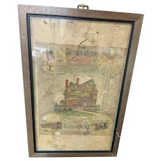 Sherwin Williams Advertising Puzzle Michigan Railroad Map 2 sided Framed Wood