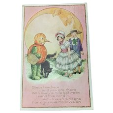 Halloween Postcard Samual Schmucker HTF Boy Girl Pumpkin Moon 1917
