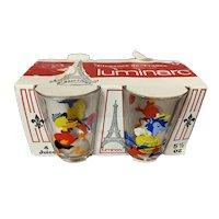 Set of 4 French Carnival Cartoon 5.5 oz Glasses Luminarc Original Packaging