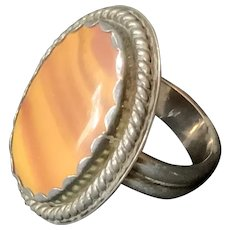 Sterling Men's Ring with inset Stone Size 11
