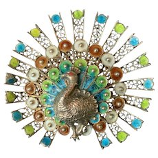 Peacock Pin Blue Green Feathers enamel Marked 800